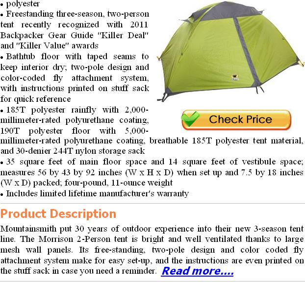 Mountainsmith Morrison 2 Person Tent Features